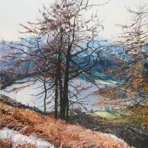 SOLD-Trees above Rydal Water, oil on board, prints available
