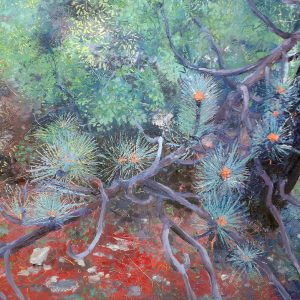 Pine Forest, Soubes, oil on board