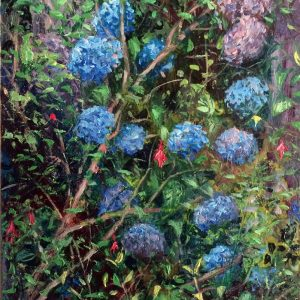 Hydrangeas & Fuchsias, oil on board